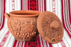 Pitcher handmade on a towel. Modern Decorative Arts of Ukraine. Hand made with clay Stock Image