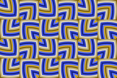 Modern decorative geometrical seamless pattern of golden and blue shades Stock Photo