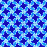Modern decorative seamless pattern with different geometrical shapes of blue shades Royalty Free Stock Photos