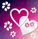 Modern deep purple background with heart cut out of paper Stock Images