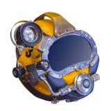 Modern deep sea diving helmet, isolated. Modern deep sea diving helmet used to go down to 1500 feet Royalty Free Stock Photo