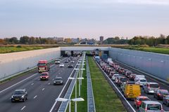 A4 deepened motorway Rotterdam- The Hague, traffic jam in the di royalty free stock photography