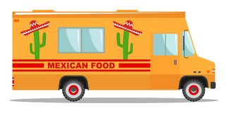 Flat design vector cartoon colorful illustration of food truck. Traditional Mexican street cuisine. Auto restaurant Royalty Free Stock Images