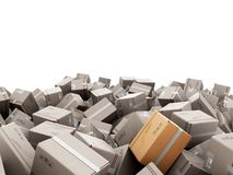 Modern delivery concept mountain from the boxes on a white backg. Round 3d render Stock Images