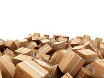 Modern delivery concept mountain from the boxes on a white backg. Round 3d render Royalty Free Stock Photography
