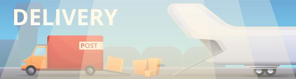 Modern delivery service concept banner, cartoon style royalty free illustration