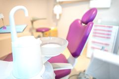 Modern dental room. Dental chair and other accessories used by d. Entists stock photos