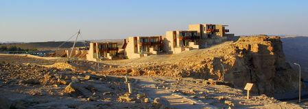 Modern desert architecture accommodating the natur. A row of desert homes near Ramon Crater (Makhtesh) in the Negev desert of Israel Royalty Free Stock Photos