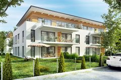 Modern apartment houses with terraces in the city. Modern design apartment houses with terraces in the city royalty free stock photography