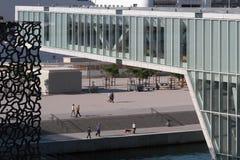 Modern design av Mucem och villan Mediterranee Royaltyfri Bild