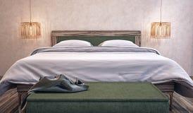 Modern design av sovrummet Arkivfoton