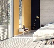 Modern design av sovrummet Arkivbilder