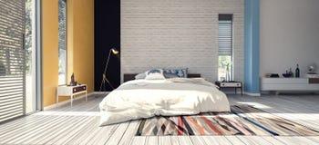 Modern design av sovrummet Fotografering för Bildbyråer