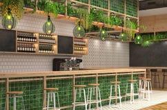 Modern design av stången i vindstil med gröna färger visualization 3D av inre av ett kafé med en stångräknare _ Arkivbilder