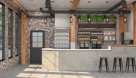 Modern design av stången i vindstil visualization 3D av inre av ett kafé med en stångräknare Royaltyfria Foton