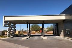 Modern Design of a bank in Gilbert Arizona. Modern Architecture design of bank in Arizona. Showing the drive thru service lanes Stock Photo