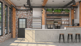 Modern design of the bar in loft style.  3D visualization of the interior of a cafe with a bar counter. Royalty Free Stock Photos