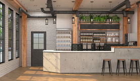 Modern design of the bar in loft style.  3D visualization of the interior of a cafe with a bar counter. Stock Image