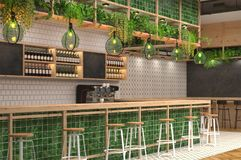 Modern design of the bar in loft style with green colors. 3D visualization of the interior of a cafe with a bar counter. Blurred. Background with depth of field stock illustration