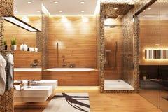 Modern design bathroom in bedroom. Modern design bathroom in large house stock image