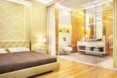 Modern design bathroom in bedroom. Modern design bathroom in large house stock images