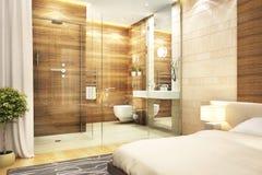 Modern design bathroom in bedroom. Modern design bathroom in large house royalty free stock image