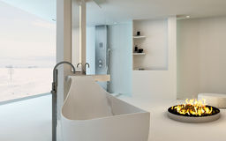 Modern Design Bathroom interior with fireplace Stock Photo