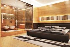 Modern design bathroom in bedroom. Modern design bathroom in large house royalty free stock photos