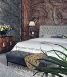 Modern design of bedroom. 3d Render Royalty Free Stock Photography