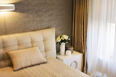 Modern design. Modern bedroom details in a light coming from a window Royalty Free Stock Images