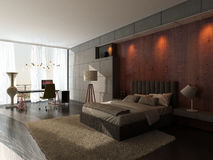 Modern design bedroom interior with wooden and stone wall Stock Photography