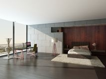 Modern design bedroom interior with wooden and stone wall Royalty Free Stock Photo