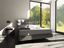 Modern Design Bedroom with landscape view. A 3d rendering of Modern Design Bedroom with landscape view Royalty Free Stock Photography