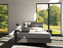 Modern Design Bedroom with landscape view. A 3d rendering of Modern Design Bedroom with landscape view Stock Photography