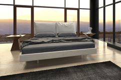 Modern Design Bedroom with landscape view Royalty Free Stock Images