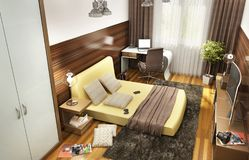 Modern design bedroom for a teenager in a big house. Modern design bedroom for a teenager in a house royalty free stock image