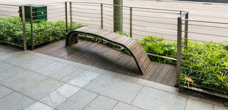 Modern design bench beside the street Stock Photography