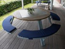 Modern design big round metal wooden table Stock Image