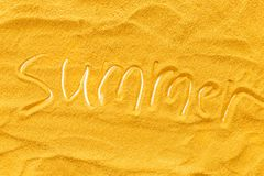 Modern design for blor with yellow sand texture and summer copy top view.  royalty free stock photo