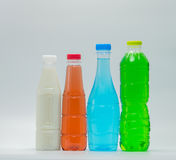 Modern design bottles of soft drink and soy milk. On white background royalty free stock photos