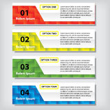 Modern design business clean number banners template or website layout. Info-graphics. Vector. Clean, blue, green, yellow and red background Royalty Free Stock Photography