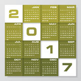 Modern design calendar 2017 year vector design template.12 mounts from January-December 2017. Royalty Free Stock Image