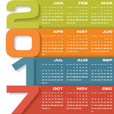 Modern design calendar 2017 year vector design template.12 mounts from January-December 2017. Royalty Free Stock Photos
