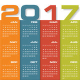 Modern design calendar 2017 year vector design template.12 mounts from January-December 2017. Royalty Free Stock Images