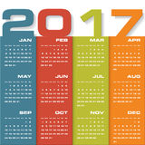 Modern design calendar 2017 year vector design template.12 mounts from January-December 2017. Week Starts Sunday. EPS10 Royalty Free Stock Photos