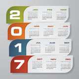 Modern design calendar 2017 year vector design template.12 mounts from January-December 2017. Stock Image