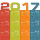 Modern design calendar 2017 year vector design template.12 mounts from January-December 2017. Stock Images