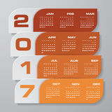 Modern design calendar 2017 year vector design template.12 mounts from January-December 2017. Week Starts Sunday. EPS10 Stock Photography