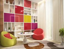 Modern design of a children`s room with a workplace. And armchairs royalty free illustration