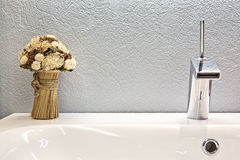 Modern design of chrome faucet Stock Photo